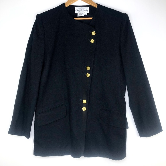 Oleg Cassini Jackets & Blazers - VTG Oleg Cassini Black Long Blazer w/ Gold Buttons